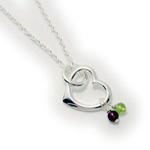 Mothers real gemstone heart necklace gemstone drop heart charm heart pendant with real birthstone gemstones aloadofball Images