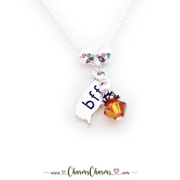 Best Freinds Forever Necklace with Birthstone Crystals