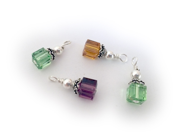 Square birthstone charms