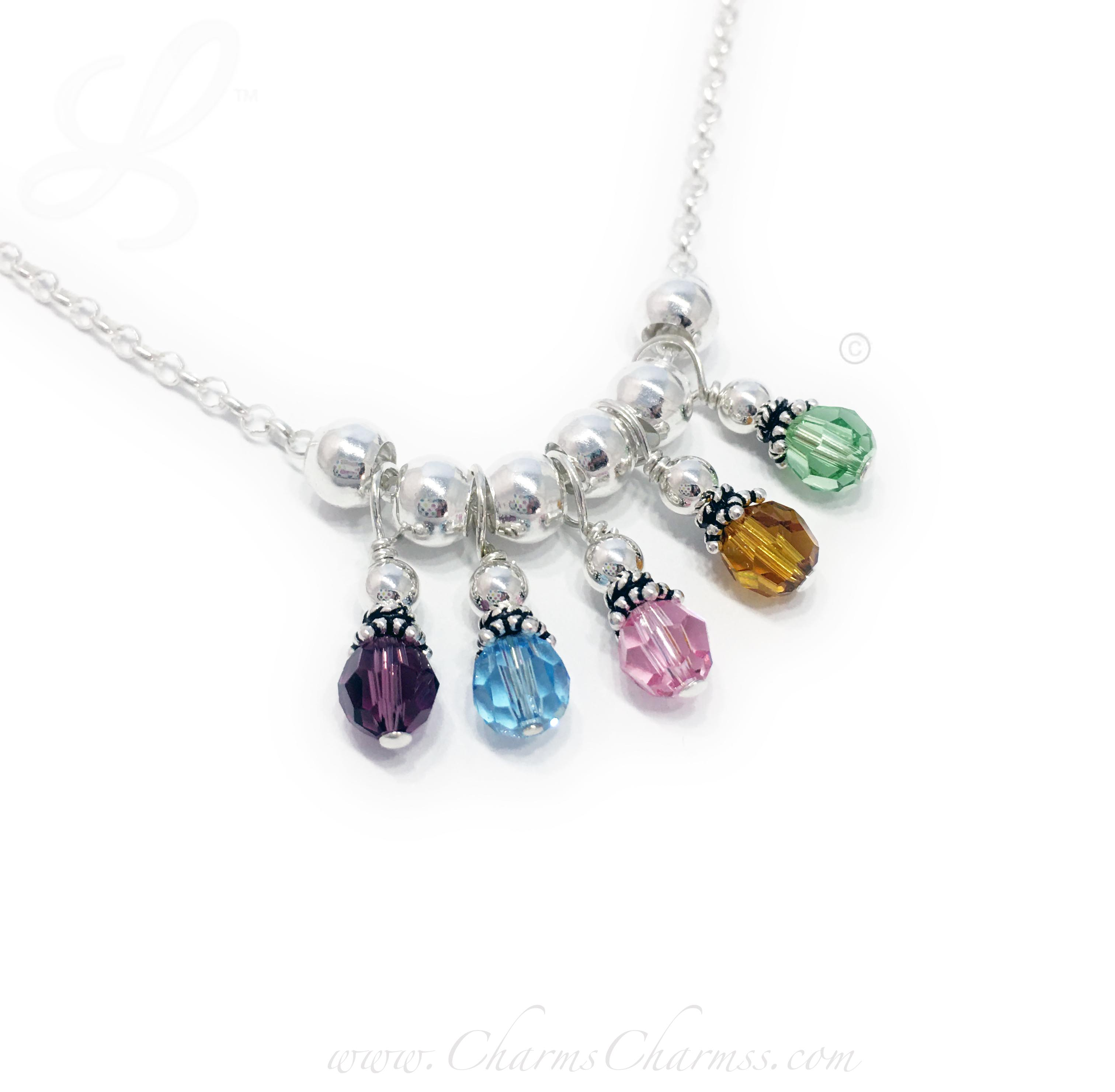 This 5 Birthstone Charm Necklace for grandma is shown with 5 Birthstones representing 5 grandkids: February or Amethyst, March or Aquamarine, October or Opal, November or Golden Topaz and August or Peridot Birthstone Charms.