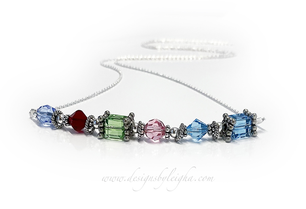 Generations Birthstone Necklace CC-N7-1 string  1 String + 6 Birth Months December/Topaz, July/Ruby, August/Peridot, October/Opal., March/Aquamarine x 2 Birthstones