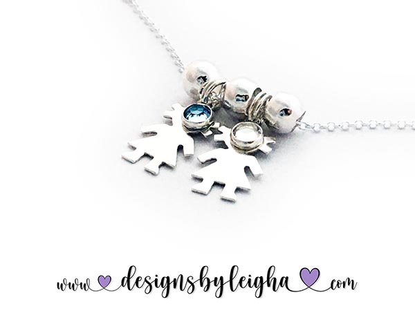 CC-N6 with Birthstones - 2 Girl Charms