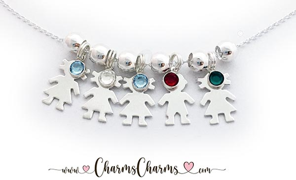 This necklace has 5 kid charms: 4 Girl Charms & 1 Boy Charm and all of their birthstones. They are in birth order: Girl/March Girl/April Girl/March Boy/January Girl/May