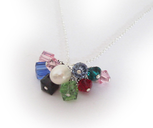 11 crystals Grandma Birthstone Charm Necklace - Birthstone Crystal Dangle Necklaces