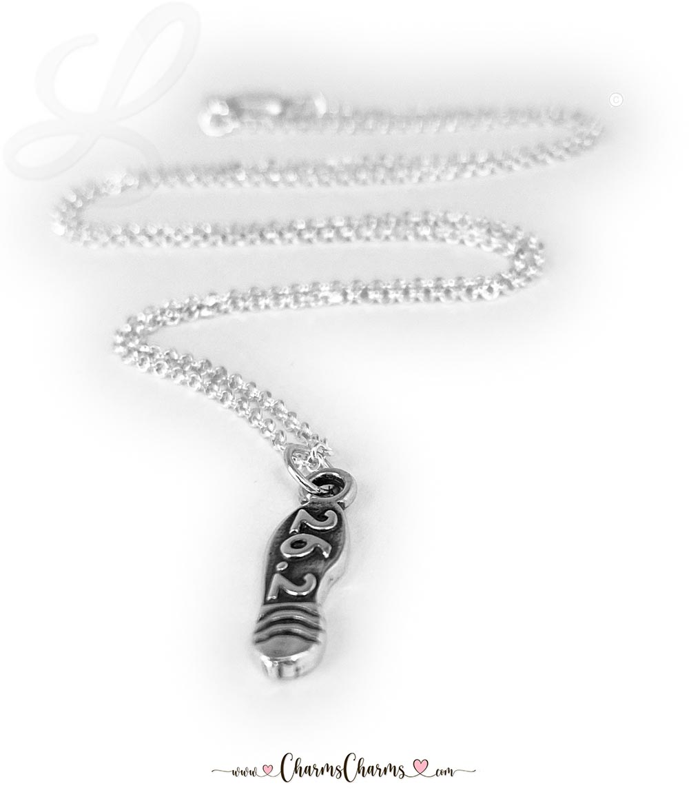 "This Runner Charm necklace has 1 sterling silver charm ""26.2"" and is on an 18"" ROLO Chain sterling silver necklace."