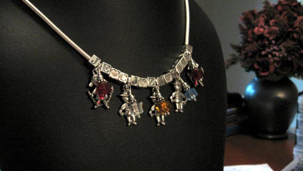 5 kids charm necklace
