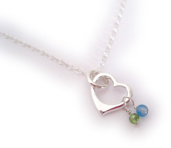 August and September Open Heart Necklace (sterling silver)