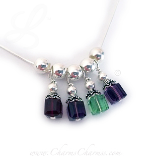 4 Charms for Grandma Birthstone Charm Necklace - Birthstone Crystal Dangle Necklaces