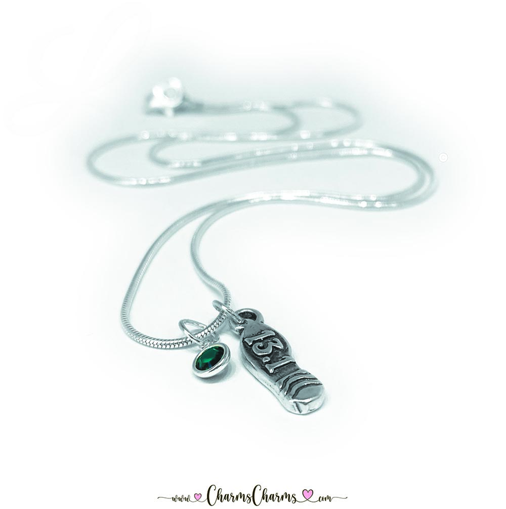 "This Runner Charm necklace has 2 charms: ""May/Emerald/Dk Green"" Birthstone Charm & a ""13.1"" shoe charm and they are on an 18"" SNAKE Chain sterling silver necklace."