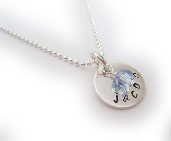 Jacob Hand Stamped Necklaces with December Birthstone Crystal