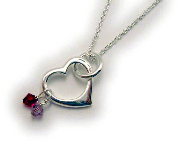 Heart Birthstone Necklace for Grandmas