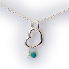 Heart Necklace with Pearls and Tourquoise semi precious gemstones