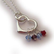 Heart Charm Necklace with Birthstone Crystals