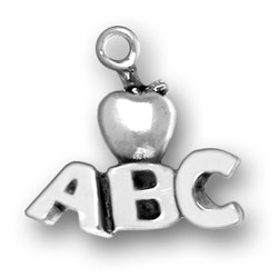Sterling Silver Teacher Apple ABC Charm