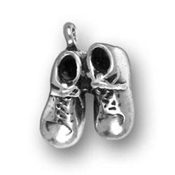 Sterling Silver Baby Boy Shoes Charm