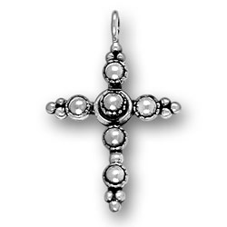 Sterling Silver Large Beaded Cross Charm