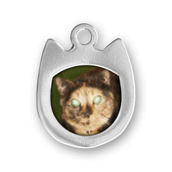 Sterling Silver Cat Head Picture Frame Charm