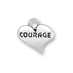 Sterling Silver Courage Heart Charm