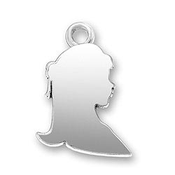 Sterling Silver Girl Profile Charm
