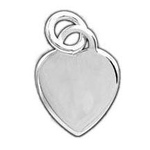 Sterling Silver Flat Heart Charm (Engravable)