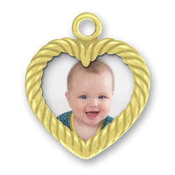Gold Heart Picture Frame Charm