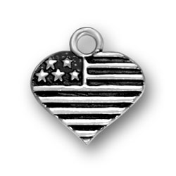 Sterling Silver Heart Flag Charm