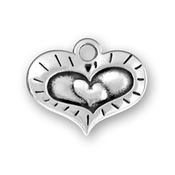 Sterling Silver Heart Within A Heart Charm