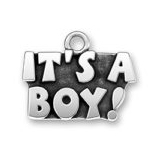 Sterling Silver It's a Boy! Charm Announcement - Unique Baby Announcements