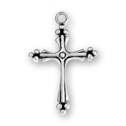 Sterling Silver Large Fancy Cross Charm