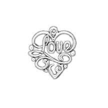 Sterling Silver Love Fiigree Charm