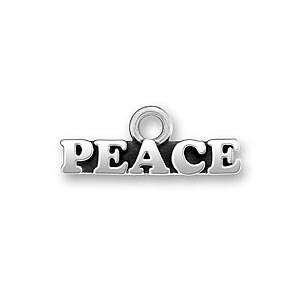 Sterling Silver Peace Word Charm