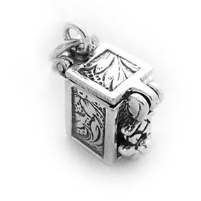 Sterling Silver Prayer Box Charm (Hinged)