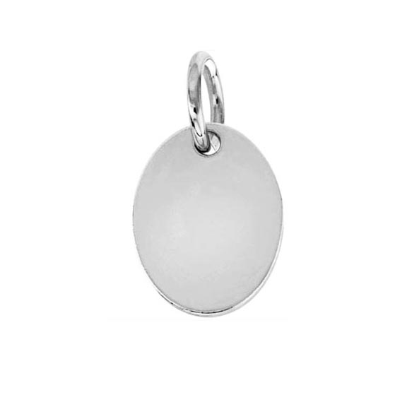 Sterling Silver Flat Oval Charm (Engravable)