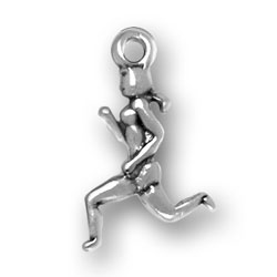 Sterling Silver Woman Running Charm