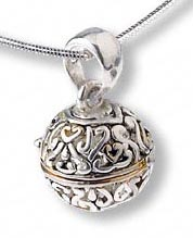 Sterling Silver and Gold Plated Large Round Prayer Box Pendant (sold individually)