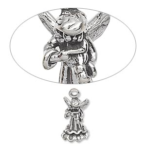 Sterling Silver Angel Charm with Harp