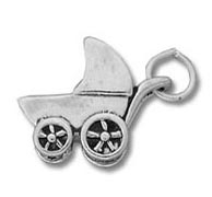 Sterling Silver Baby Carriage Charm for Bracelets or Necklaces
