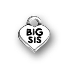 BIG SIS charm in a heart - sterling silver