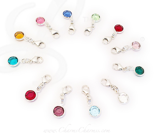Swarovski Crystal Channel Birthstone Charms with Lobster Claw Clasp
