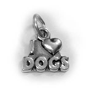 Sterling Silver I HEART DOGS Charm