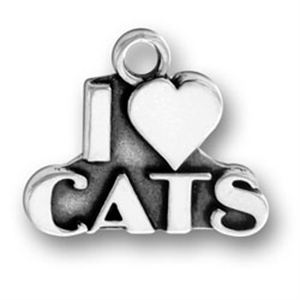 Sterling Silver I HEART CATS  Charm