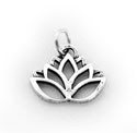 Large Lotus Flower Charm - sterling silver