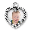 Sterling Silver Picture Frame Charm in the Shape of  a Heart