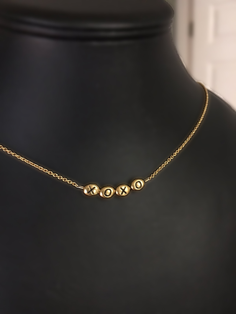 XOXO Gold Block Necklace