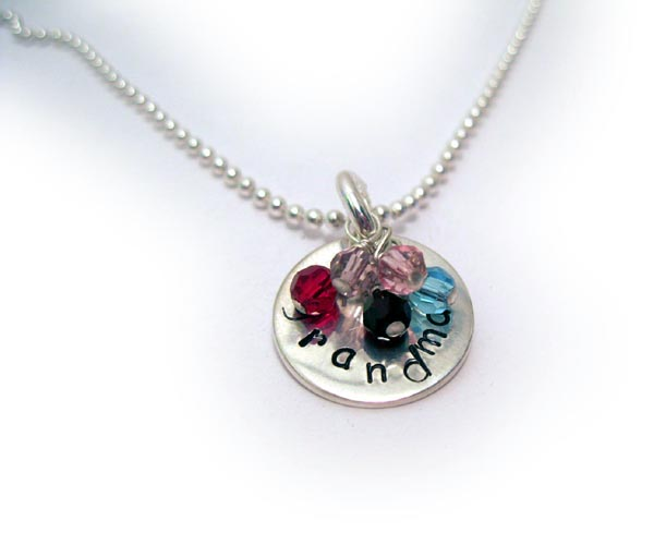 GRANDMA HandStamped Necklace with Birtshtone Crsytals of grandkids and great grand kids
