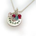 Hand Stamped Birthstone GRANDMA Necklace