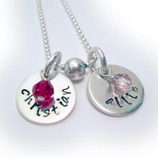 Hand Stamped Necklace with kids names and birthstone crystals