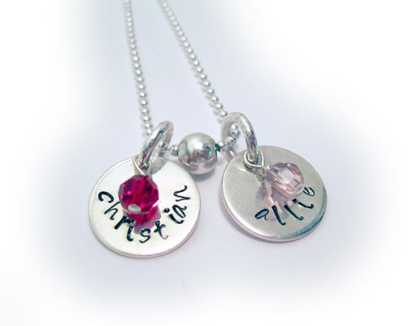 Hand Stamped Necklace with 2 kids names and 2 birthstone crystal dangles