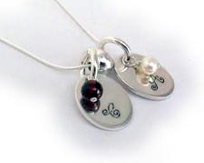 Hand Stamped Necklace with kids Initials and Real Gemstones