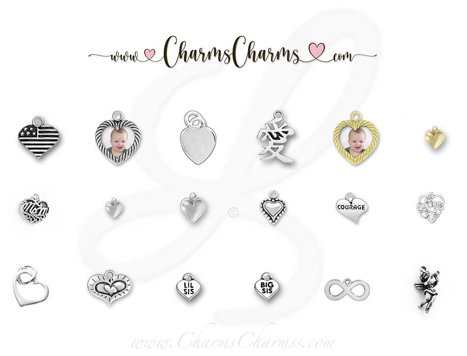 Sterling Silver & Gold Heart Charms
